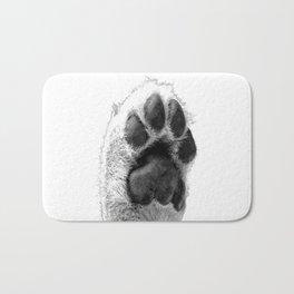 Black and White Dog Paw Bath Mat