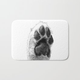 Black and White Dog Paw Bath Mat