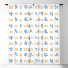 letter and flower 2 orange and blue Blackout Curtain