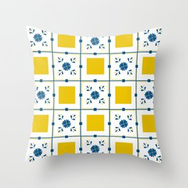 Talavera, blue and yellow flowers Throw Pillow