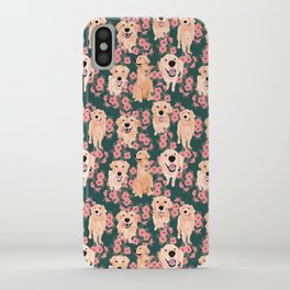 Golden Retriever and flowers on green iPhone Case