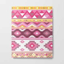 Modern Boho Aztec – Mulberry Pink and Plum Violet Metal Print