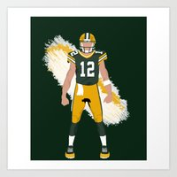 packers Art Prints featuring Cheese Head - Aaron Rodgers by IllSports