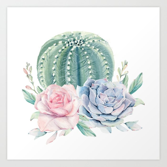Cactus Rose Succulents Art Print By Naturemagick Society6