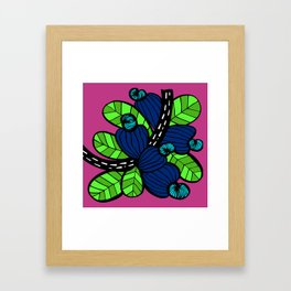 Pink & Blue Cashew Apple Framed Art Print
