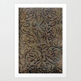 Olive & Brown Tooled Leather Kunstdrucke