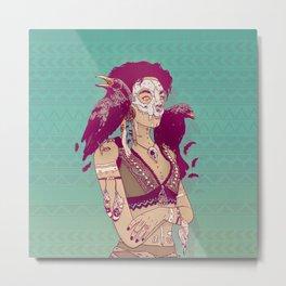 Raven Lady Metal Print