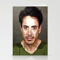 robert downey jr Stationery Cards featuring Robert Downey Jr. Mugshot by Neon Monsters