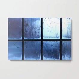 Winter Christmas Blue Window Metal Print