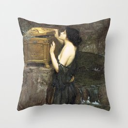 Pandora by John William Waterhouse Throw Pillow