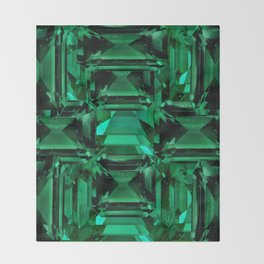 CLUSTERED FACETED EMERALD GREEN MAY GEMSTONES Throw Blanket