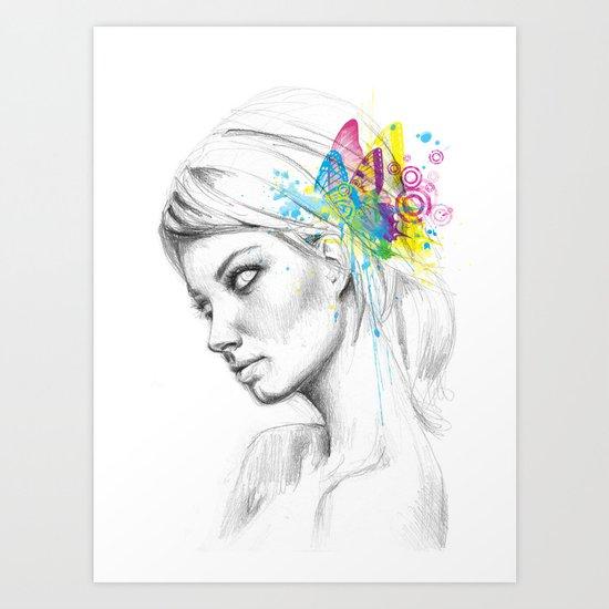 Butterfly Queen Girl with Butterflies Art Print