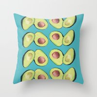 avocado Throw Pillows featuring Avocado by MagentaRose (UK)