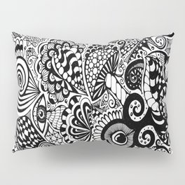 Mushy Madness doodle art Black and White Pillow Sham