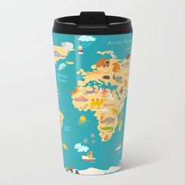 Animal map for kid. World vector poster for children, cute illustrated Metal Travel Mug