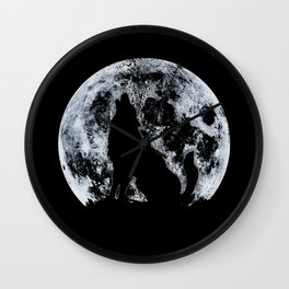 Wolf And Moon Wall Clock