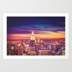 New York City Dusk Sunset Art Print