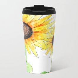 Sunflower Watercolor & ink Metal Travel Mug