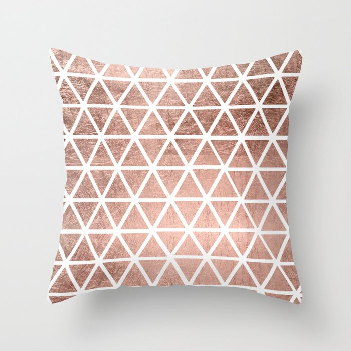 Geometric Faux Rose Gold Foil Triangles Pattern Throw