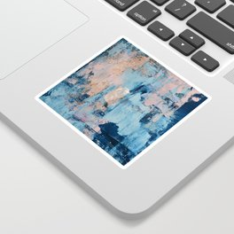Sunbeam: a pretty abstract painting in pink, blue, and gold by Alyssa Hamilton Art Sticker