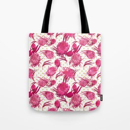 Pink and Gold Australian Native Floral Pattern - Protea, Grevillea and Eucalyptus Tote Bag