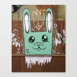 Tel Aviv Street Art / Green Rabbit Canvas Print