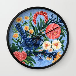 Blue Fairy Wren and Flowers || Acrylic Painting || Blue Coral Yellow Wall Clock
