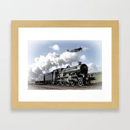 Spitfire and Nunney castle Framed Art Print
