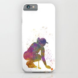 Female golf player competing in watercolor 05 iPhone Case
