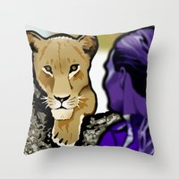 lesbian Throw Pillows featuring The Lesbian & the Lioness by BinaryGod.com