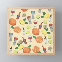 cocktail recipe pattern _ zombie Framed Mini Art Print