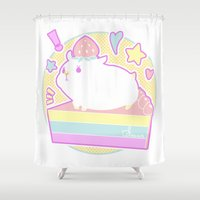 hamster Shower Curtains featuring Sweet Hamster by AquaZircon (LumiiLoup)