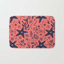 Sea shells on living coral background Bath Mat