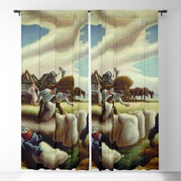 Classical Masterpiece 'Sugar Cane' by Thomas Hart Benton Blackout Curtain
