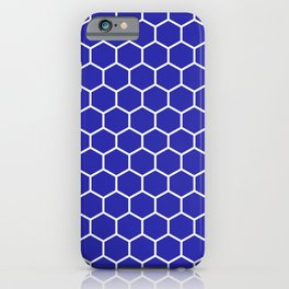 Honeycomb (White & Navy Blue Pattern) iPhone Case