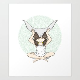 Zodiac - Taurus - Horns Girl Art Print