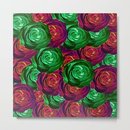 closeup rose pattern texture abstract background in red and green Metal Print