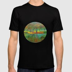 Autumn reflection  MEDIUM Black Mens Fitted Tee