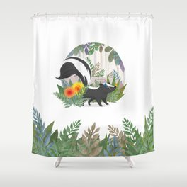 Skunk in the forest Shower Curtain