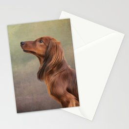 Dog breed long haired dachshund portrait oil painting Stationery Cards