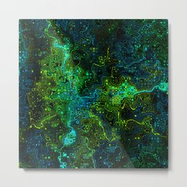 We Are All Connected. Neon Green Abstract Pattern Metal Print