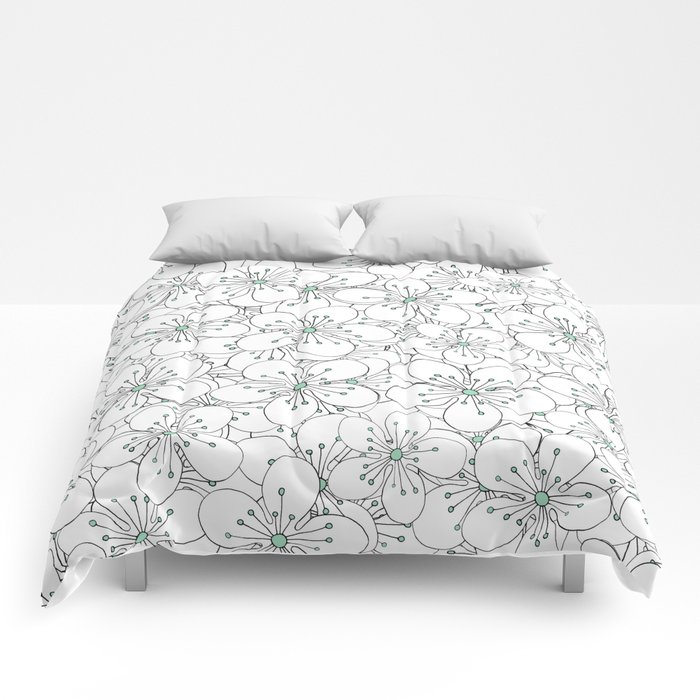 Cherry Blossom Mint Comforters