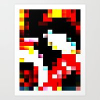 pixel Art Prints featuring pixel by shopcicelysiller