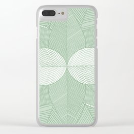 Minimal Tropical Leaves Pastel Green Clear iPhone Case