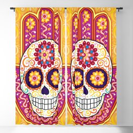 Sugar Skull Hamsa - Day of the Dead Hamsa Art by Thaneeya McArdle Blackout Curtain