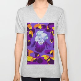 Artful Modern Purple-White Iris Yellow-Orange Design Unisex V-Neck