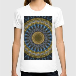 Mandala in golden and blue tones T-shirt
