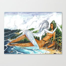 PNW Fishnets - Earth and Sky Goddess Kiss Painting Canvas Print