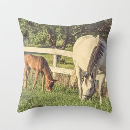 Mare and Foal // Horses Throw Pillow