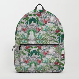 patterned with colorful birds on jungle trees Backpack